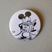 Vintage Mickey Mouse how to kill 1x1.5 pinback by Stickerama