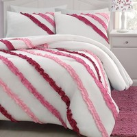 2-piece Soft White Pink Ruffled Comforter Set Twin Size