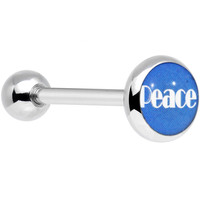 Stainless Steel Blue Peace Barbell Tongue Ring