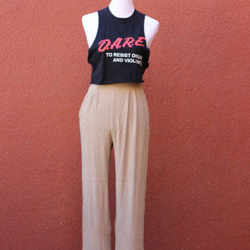 Vtg D.A.R.E. tank cut off tee black red cropped cute