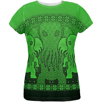 Ugly Christmas Sweater Big Cthulhu Greater Gods All Over Womens T Shirt
