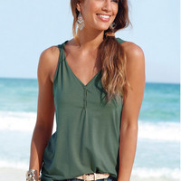 Casual Button Down Tank Top 11730