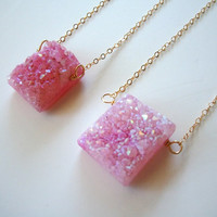 Raw Crystal Necklace - Pink - Mineral Jewelry- 14K Gold Filled Chain