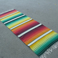 Striped handmade rug in red, yellow and green - handwoven rainbow rug - colorful unique handmade rug