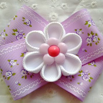 Cute Lavender Handmade Kanzashi Flower Hair Bow ~ Unique Birthday, Back to School Gift for Girls