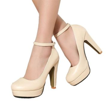 Free shipping 2018 Spring summer Pumps Women's shoe new European  fashion high heels shoes waterproof bandage thick with 10cm