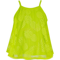 River Island Girls lime lace pineapple cami top