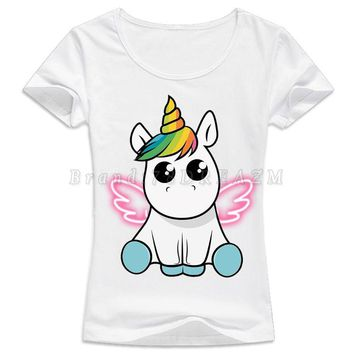 Unicorn T-shirt For Women 2017 Kawaii New Women's Tshirt unicornio Clothing harajuku tumblr Funny T Shirt Female Top Tee