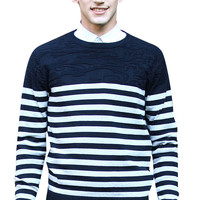 Long Sleeve Round Neck Ribbed Trim Striped Men Knit Sweater