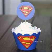 24Pcs+Superman cartoon paper cupcake wrappers baby shower boy decorations for kids birthday party cake cup picks toppers = 1946220356