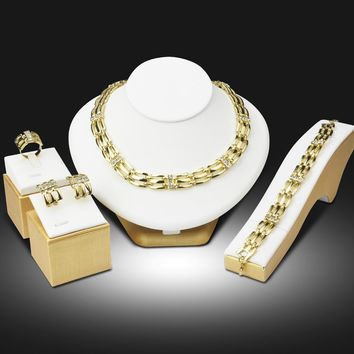New African Beads Nigerian Wedding Jewelry Set Gold Color Crystal Chain Necklace Earring Bracelet Ring 4PCs Set Jewellery