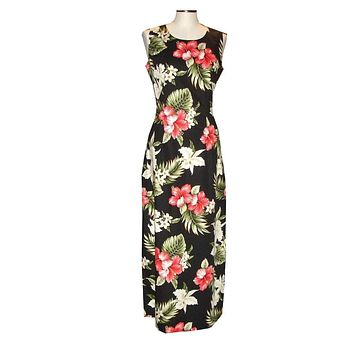 Ky's Black 100% Cotton Womens Tank Aloha Dress with White Orchids and Red Hibiscus