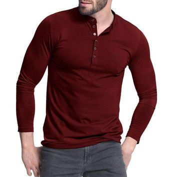 Mens Henley Shirt Popular Design Tee Tops Long Sleeve Stylish Slim Fit Plain T-Shirt Button Placket Casual Mens T-Shirts