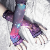 Space Cadet Arm Warmers - Black Magenta Teal Yellow Plum Purple White Royal Galaxy Print - Gothic Tribal Cycling Yoga Steampunk Noir Gypsy
