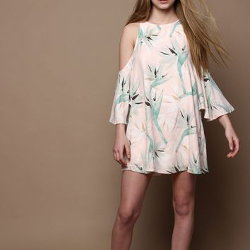 Bird Of Paradise Cold Shoulder Trapeze Dress - Pale Pink