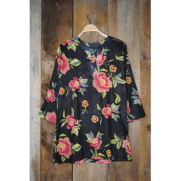 Cotton Tunic Top Red Roses on Black
