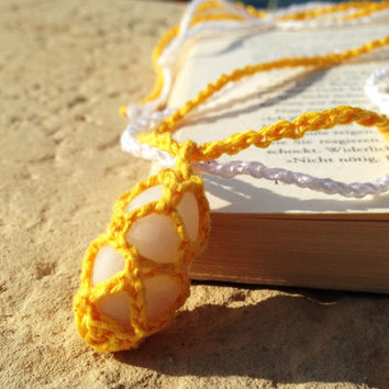 Crochet Stone Necklace, White and Yellow, Сrochet Pendant, Crochet Chain