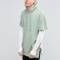 Sixth June | Sixth June Longline Hoodie With Distressing at ASOS