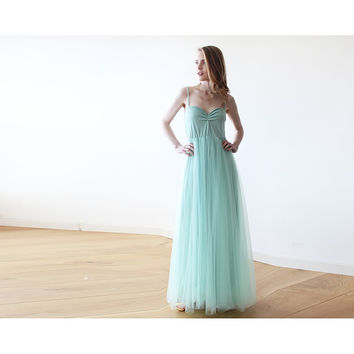 Mint maxi ballerina tulle dress