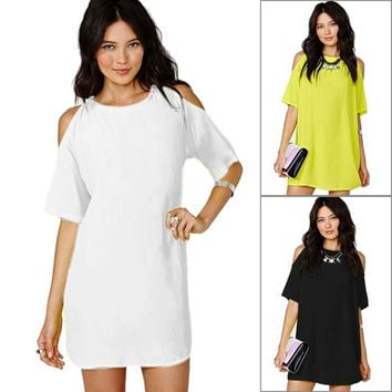 New Womens Summer Off Shoulder Short Sleeve Chiffon Mini Dress Casual Loose Tops = 1705641156
