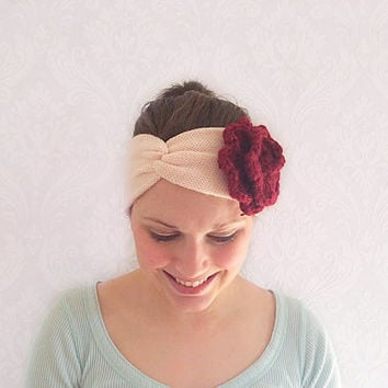 Cream Knitted Floral Turban Headband, Stretchy Twist Headband, Fashion Hair Accessories, Ear Warmer, Sweatband, Turband, Teen Gift Idea