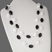 Black & White Glass Ovals Double Metal Strand Necklace