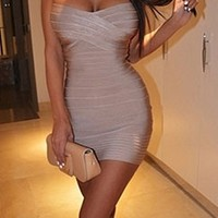 Beige Nude Sweetheart Neck Bandage Style Strapless Body Con Fitted Mini Dress