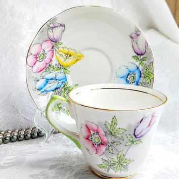 Vintage Salisbury Bone Cup and Saucer, Watercolor Poppy Tea Cup and Saucer, PInk Blue Yellow Demitasse, Shabby Chic Decor, Tea Party