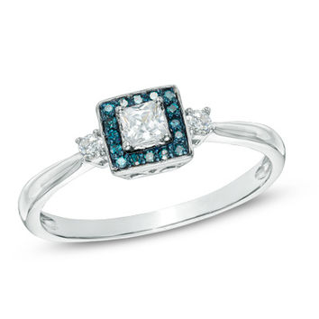 1/4 CT. T.W. Princess-Cut Diamond Frame Promise Ring in 10K White Gold