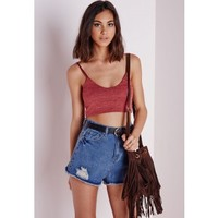 Missguided - Knitted Scoop Neck Bralet Rust