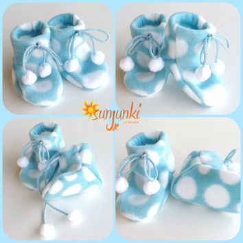 Blue Unisex Baby Girl or Baby Boy Booties Infant Sock Boots Soft Sole Shoe Boy Girl Fleece Boots Slippers Blue White Pom Pom
