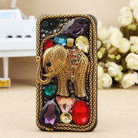 iPhone 4S 4G 3GS iPod Touch Vintage Bling Crystal Stylish Metal Elephant Hard Cover