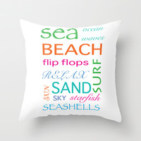 Beach Throw Pillow by Janice Sullivan