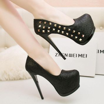 Rivet Shinning Round Toe Platform Stiletto High Heels Prom Shoes