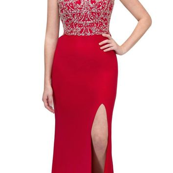 Red Beaded Bodice Sleeveless Long Prom Dress with Slit