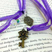 Ribbon Bookmark, Book Thong, Lock Key Bookmark, Skeleton Key, Purple Ribbon, Beaded Bookmark, Christmas Gift, Peacock Colors, Book Lover