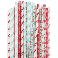 Red Blue Rose Paper Straw Assortment