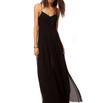 Black Pleated Cami Maxi Dress