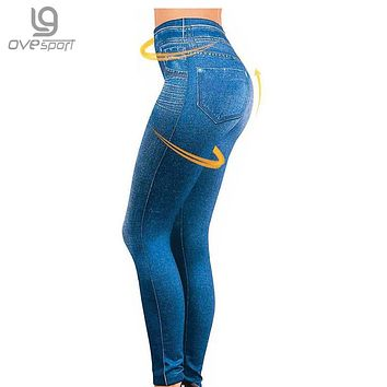 S-XXL Women Jegging Jeans Genie Slim Fashion High Elactic Jeggings Female Fitness Leggings 2 Real Pockets Woman Fitness Pants