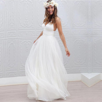 New Arrival V Neck Spaghetti Straps Backless Chiffon Wedding Dresses Summer Beach Floor Length Bridal Gown 2016