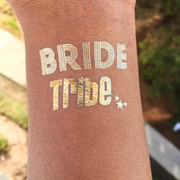 BRIDE TRIBE Tattoo, Flash Tattoo, Temporary Tattoo,Gold Rose Metallic Temporary Tattoo, Foil tattoo, Fake tatoo, Metallic Tatoo, Tatt