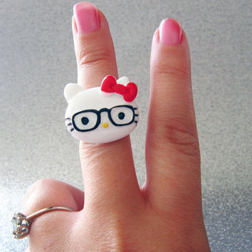 Plastic Hello Kitty Ring hipster Kitty, geeky jewelry