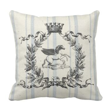 French Grain Sack Pegasus Throw Pillow