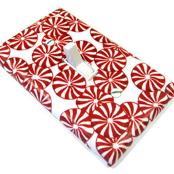 Red and White Peppermint Candy Light Switch Cover Christmas Home Decor Holiday Winter Seasonal Decoration