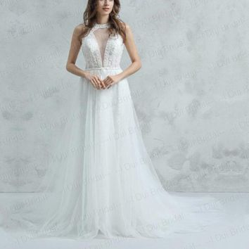 O Neck Deep V Neck Wedding Dress with Detachable tulle Train luxury Beaded Bare Back Bridal Gown