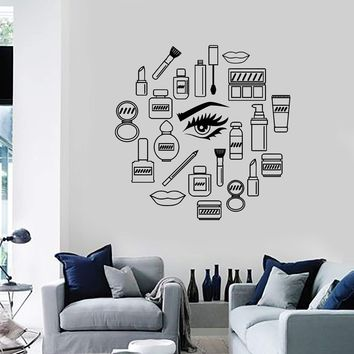 Vinyl Wall Decal Makeup Cosmetics Woman Girl Beauty Shop Stickers Unique Gift (ig3538)
