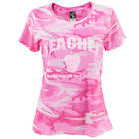 Teacher Love Your Job Pink Camo Women's T-Shirt