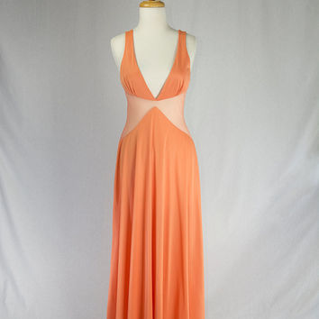 Vintage Bombshell Peek-a-boo Nightgown Full Length Tangerine Temptress