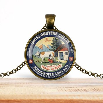 Vintage product label photo pendant - Swiss Gruyere cheese vintage label image