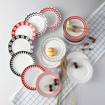 Western Black & Red Abstract Art Bone China Cake Dishes And Plates For Steak Dinner